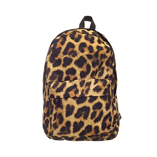 Mochilas Mujer Casual Escolar Viaje Con Fruta Rosquilla Leopardo Animal Impreso De Estilo Moda Bolso Backpack (Estampado De Leopardo)