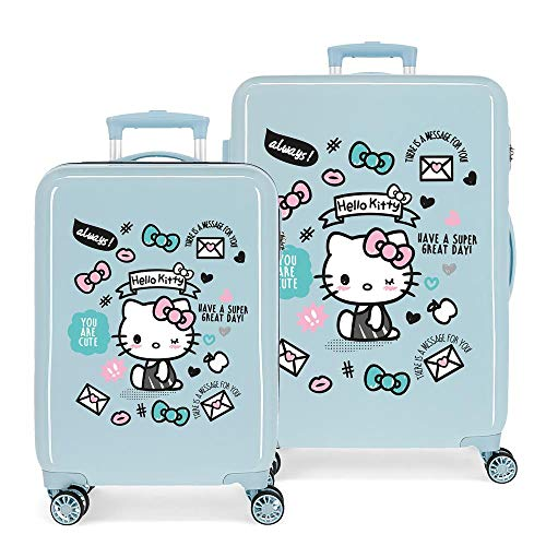Juego de Maletas Hello Kitty You Are Cute rígidas 55-68cm Azul Claro