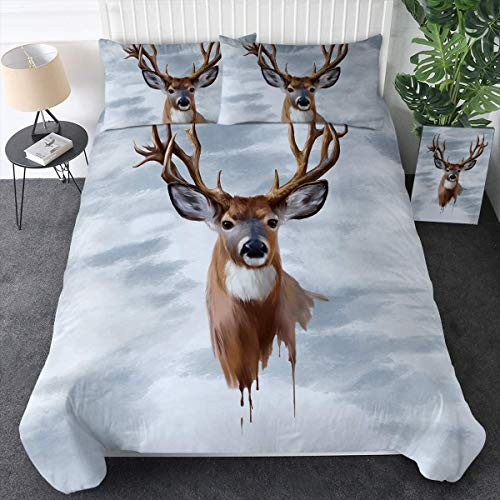 Sleepwish Watercolor Deer Antler Bedding 3D Moose Duvet Cover Rustic Stag Comforter Cover Set 3 Pieces Boy Woodland Bedroom Brown (Twin)