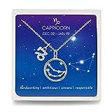 Qings Capricornio Collar Delicado Constelación del Zodiaco Plata de Ley 925 Colgante Collar para Mujer y Niñas