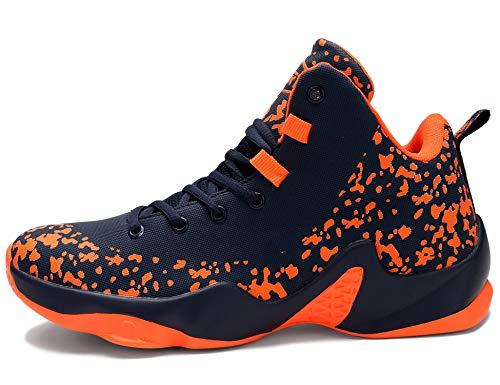 GNEDIAE Herren GNEF5 High-Top Basketball Schuhe Outdoor Anti-Rutsch Sneaker Atmungsaktiv Ausbildung Turnschuhe Sportschuhe Laufeschuhe Verschleißfeste Dämpfung Basketballstiefel Orange 43 EU