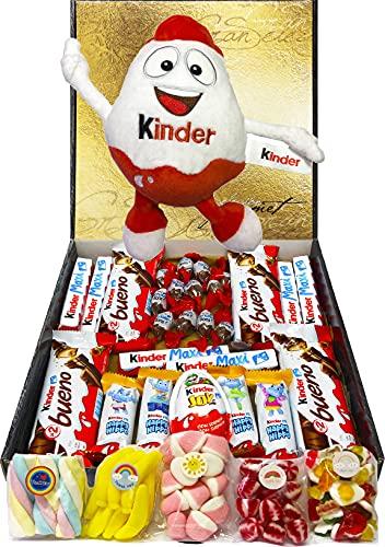 Cesta Regalo Kinder Chocolates y Chuches, Contiene Kinder Chocobons, Kinder Bueno, Kinder Maxi, Kinder Joy, Kinder Happy Hippo y 5 Bolsitas de Chuches. Incluye Peluche Kinder. Regalo Original