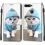 Tveinan Etui Coque pour Huawei Y6 2018 / Honor 7A, Case Antichoc Housse en Cuir à Rabat PU...