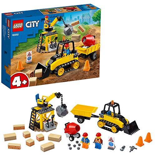 LEGO City Great Vehicles - Bulldozer da Cantiere con Pala Funzionante, Gru con Palla da Demolizione, Impastatrice di Cemento con 2 Minifigure, Set di Costruzioni per Bambini +4 Anni, 60252