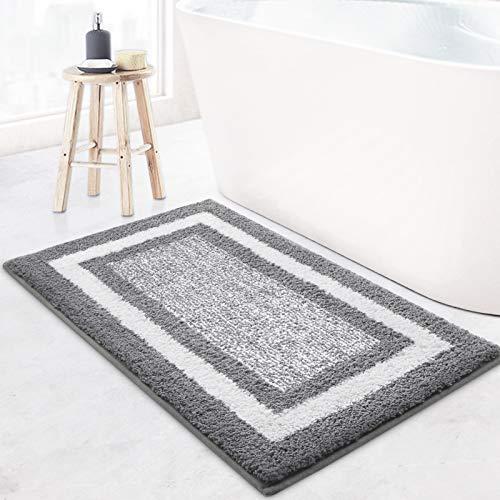 KMAT Bathroom Rugs Bath Mat,Non-Slip Fluffy Soft Plush Microfiber Bath Rugs, Machine Washable Quick Dry Shaggy Shower Carpet Rug for Bathroom, Tub and Shower,Grey,20'x32'