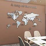 MIAOPAI Spiegel Wandaufkleber, Weltkarte 3D Acryl Wandaufkleber Kristall Spiegel Aufkleber Für Zu Hause Wohnzimmer Schlafzimmer Dekor Aufkleber Von Selbstklebend (1,8x1m)