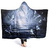 Coperta con cappuccio, coperta con stampa, coperta per uomo e donna, invernale,La farfalla 50x40 inch