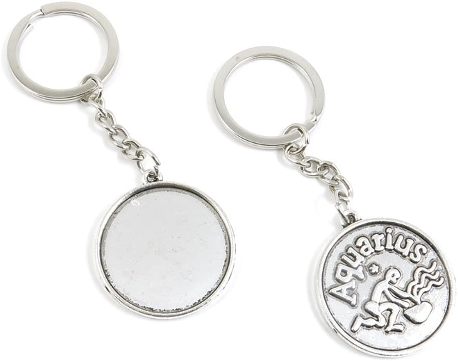 140 Pieces Fashion Jewelry Keyring Keychain Door Car Key Tag Ring Chain Supplier Supply Wholesale Bulk Lots R9WO2 Libra Round Cabochon Base
