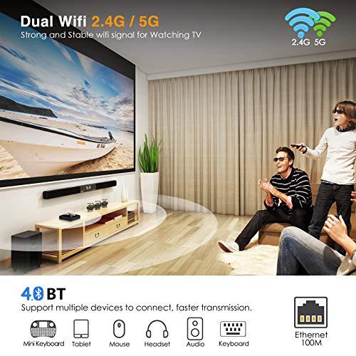 Android TV Box 10.0, NinkBox Smart TV Box 【4GB +32GB】 TV Box Android de RK3318 Quad-Core 64bit Cortex-A53, con Bluetooth 4.0, WiFi 2.4G/5G, 3D Ultra HD 4K, USB 3.0, BT 4.0 miniatura