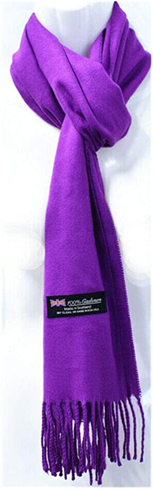 Purple - Winter Plain Solid Scarf SCOTLAND Made CASHMERE Wool Scarves