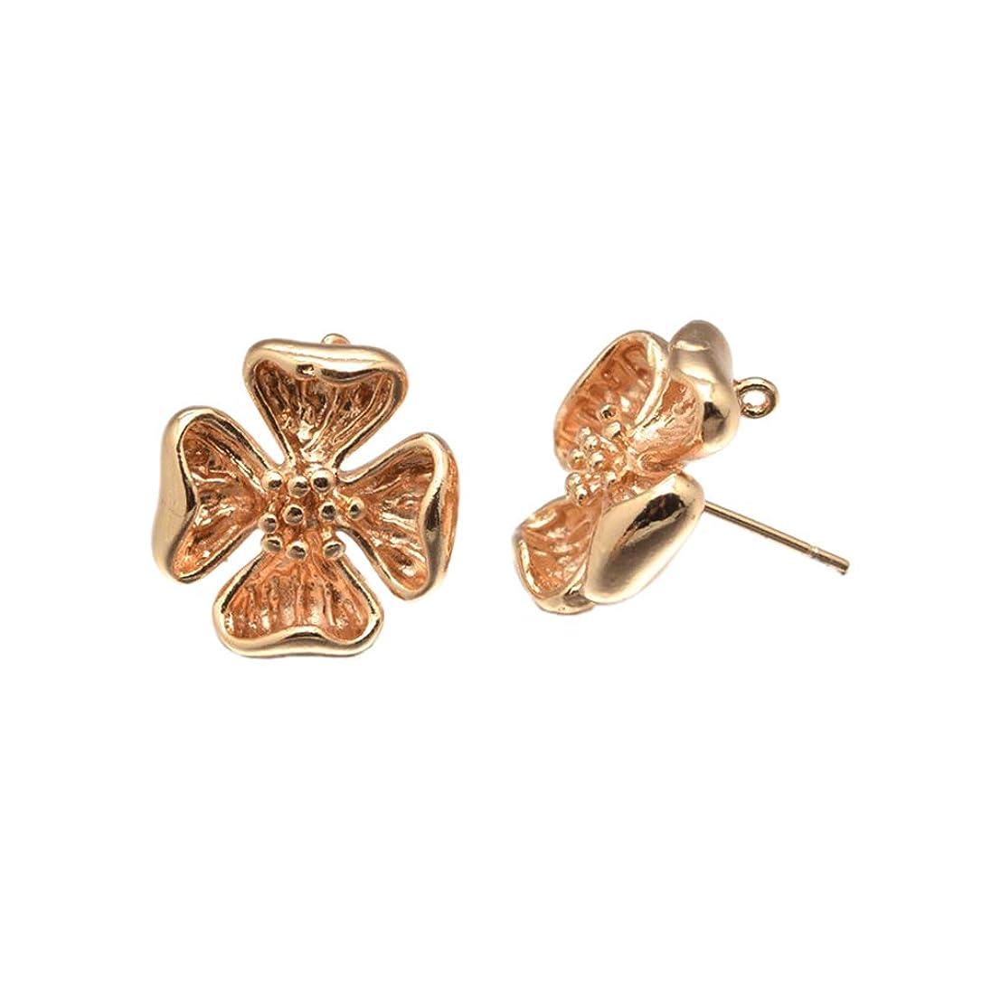 PH PandaHall 50pcs Rack Plating Brass Flower Ear Studs Light Gold Lead Free & Cadmium Free for Earring Designs Jewelry Making xuoqmbbrgdkklvt0