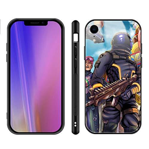 Fortni_te iPhone XR Case - Fortni_te Game Phone Case for Girls Men Boy, iPhone XR Cases Shockproof Non-Slip Tempered Glass Pattern Design Case for Apple XR 6.1-inch