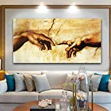 MGSHN Famous Art Print Posters Canvas Painting Creation of Adam Hand of God Classical Religion Wall Art Pictures for Living Room - 60x120cm (no Frame)