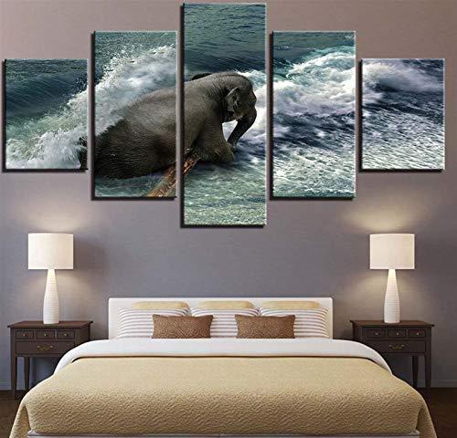 Obras de arte HD Láminas de lona Decoración del hogar 5 piezas Animals Elephant Wall Art Modular Imágenes modulares para sala de estar Cartel de dormitorio ( Color : 4 , Size (Inch) : Size2 Frame )