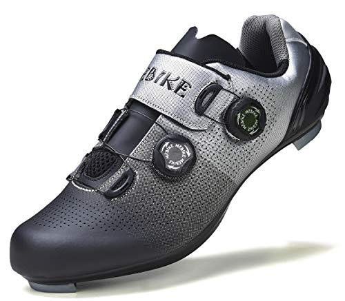 MEBIKE Mens Road Cycling Shoes Mens Look Delta Bike Shoes Mens Indoor Cycling Shoes SPD Lock MTB Bicycle Cycling Shoes for Men Black/Grey