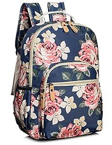 Leaper Floral School Backpack for Girls Travel Bag Bookbag Satchel Dark Blue