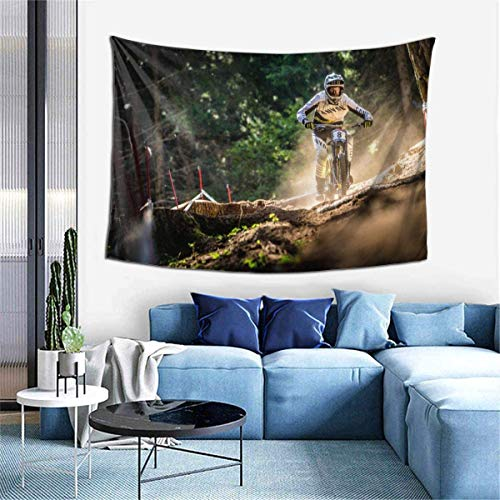 Wall Decoration Tapestry - Mountain Bike Show Hippie Art Tapestry Wall Hanging - Extra Large Tablecloths 60 X 40 Inch for Bedroom Living Room Dorm Room Home Decor