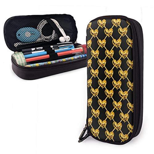 Gouden Kettingen Harten Lederen Potlood Case Rits Pen Bag Box Houder Studenten Grote Capaciteit Tas