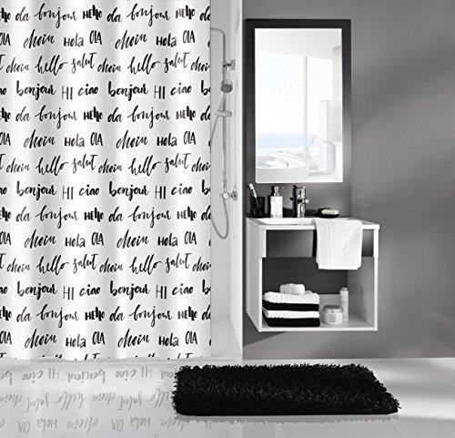 Kleine Wolke Textilgesellschaft Duschvorhang, Kunstfaser, Weiß Schwarz, 200 x 180 cm