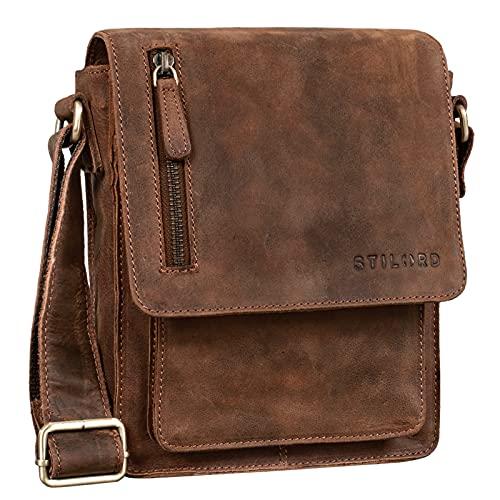 STILORD 'Finn' kleine Umhängetasche Herren Schultertasche Vintage Messenger Bag 8,4 Zoll Tablettasche echtes Büffel-Leder, Farbe:aneto - braun