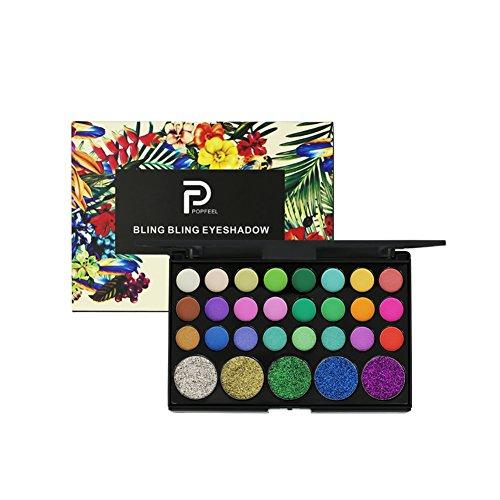 29 Farben Lidschatten Palette, Moresave Diamant Glitter Schimmer Matte Lidschatten Smoky Eye Makeup Werkzeuge(Bunt Regenbogen Stil)