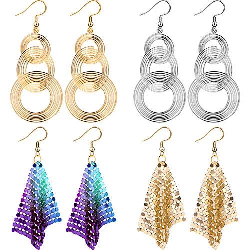 2020 Frohes Neues Jahr 70er Jahre Disco Ohrringe Pailletten Ohrringe Metall Mesh Grid Quaste Drop Baumeln Ohrringe Neujahr Party Haken Ohrringe für Frauen, Gold Silber Bunt