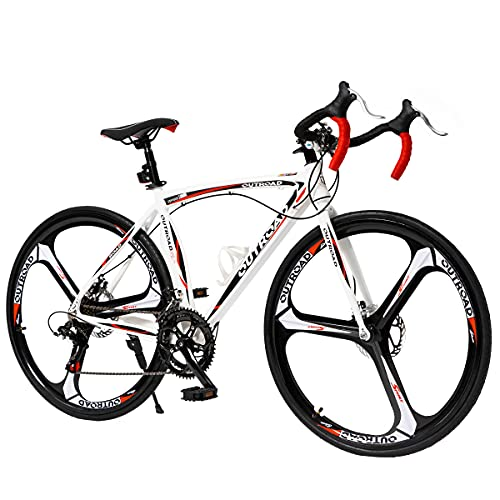 Max4out Road Bike for Men and Women with Aluminum Alloy Frame, Featuring 14 Speed Shimano Shifter, 700C Wheel and Disc Brake Bicycles White
