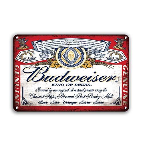 MeowPrint Budweiser Historic Label Beer Bar Man Cave Tin Sign 12.5x16 Inch (bw)