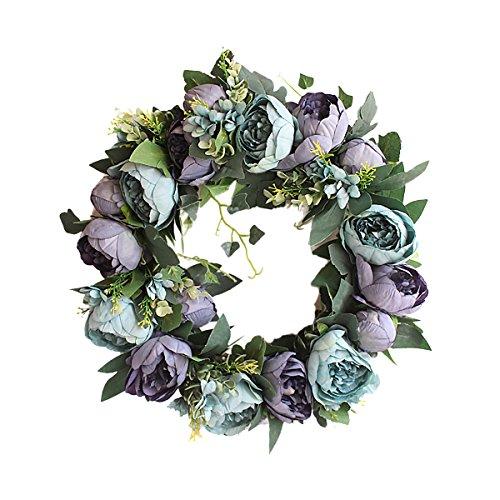 Tornado Door Wreath Twig Blooming Flower Artificial Vintage Wedding Decor Blue 18'