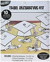 Amscan 240211.1 ホワイト卒業式テーブルデコレーションキット | パーティーの記念品 | 1キット