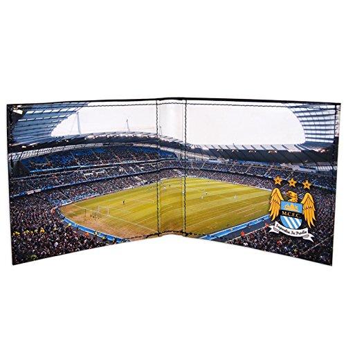 Manchester City FC - Geldbörse mit geprägtem Vereinswappen - Offizielles Merchandise - Schwarz Stadion - 11 x 9,5 cm