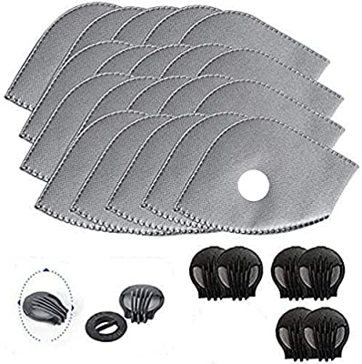 Activated Carbon Filters Replacements Parts Set of 15 Fit for Most Cycling Masks Filters with 6 Exhaust Valves Replacement Dust by hong