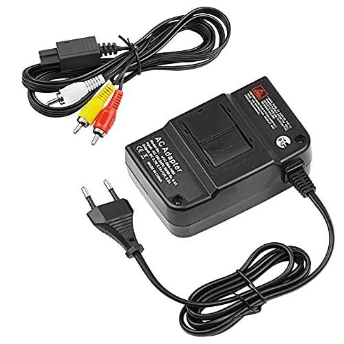 N64-Netzkabel,N64-AV-Kabel,Nintendo N64-Netzteil,AV-Composite-Kabel,Videokabel und Ersatz-Netzteil kompatibel mit Nintendo 64 / N64 / Gamecube