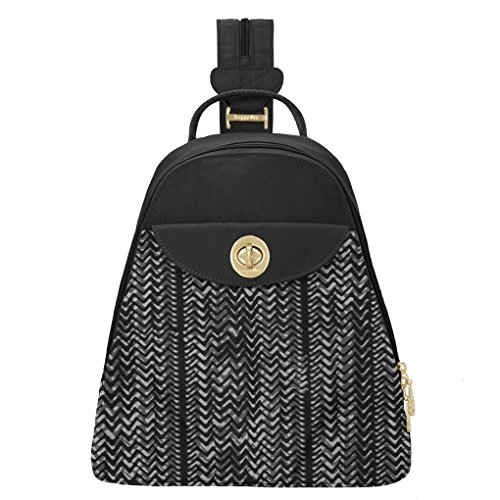 Baggallini Dallas Convertible Sling Backpack Bundle Complimentary Travel Earphones (BW Illusion Print)