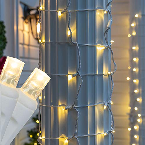 50 Warm White LED StretchNet Pro Expandable Christmas Net Lights for Small Trees, LED Tree Wrap Lights, 14' x 31' Stretchable Net - Brown Wire Trunk Wrap Lights