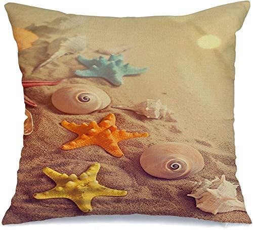 Decoración Throw Pillow Cover Funda de cojín Borde Playa Estrella de mar Viajes Conchas marinas Naturaleza Costa Colección Tropical Verano Concha Estrella Seco Funda de Cojine 45 X 45CM