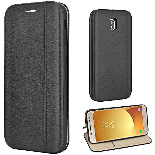 Leaum Funda para Samsung Galaxy J5 2017, piel tipo libro con función atril, funda delgada con tapa para Samsung Galaxy J5 2017, color negro