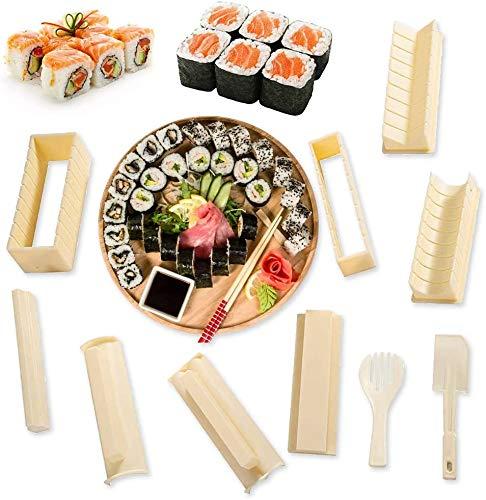 Sushi Maker Kit 10pcs únicas de Kit para Hacer Sushi Molde Inicio del fabricante Fácil y divertido DIY Set de Sushi Roll arroz rollo molde (beige)