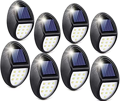 Solar Deck Lights, Solar Light Outdoor 6 LEDs Per Light Waterproof Solar Fence Lights for Outdoor Deck, Stair, Path and Driveway Pack of 8