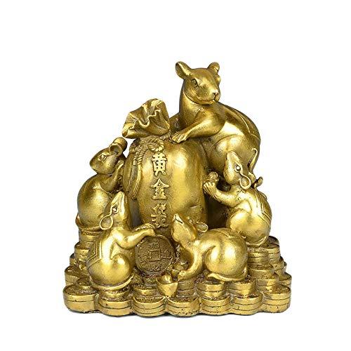 WOREX Estatuas Decoración Esculturas Latón Oro Bolsa Ratón Adornos Decoración Hogar Vino Gabinete Artesanía