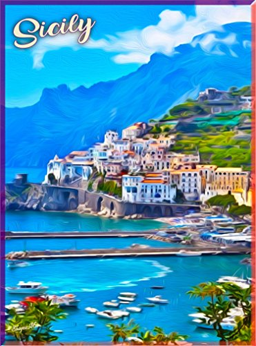 A SLICE IN TIME Sicily Italy Italian Vintage Europe European Travel Home Collectible Wall Decor Advertisement Souvenir Art Poster Print. Measures 10 x 13.5 inches
