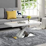 <span class='highlight'>Cherry</span> <span class='highlight'>Tree</span> <span class='highlight'>Furniture</span> BASEL High Gloss White Coffee Table with Stainless Steel Base