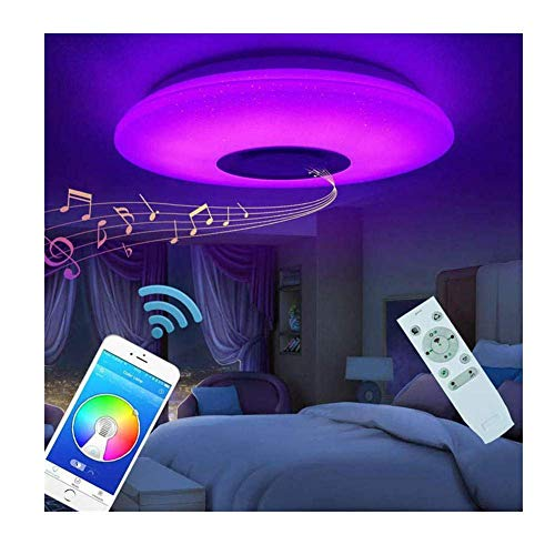 WEM Decorativo de la Lámpara, la Lámpara de Techo, 40 cm Llevó la Luz de Techo Integrado Ronda Luz de Las Estrellas de la Música de Bluetooth Altavoz de Techo de Luz Regulable en Color Del Accesorio
