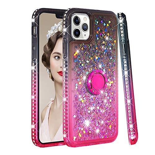CrazyLemon Hülle for iPhone 11 Pro, Schön Glänzend Funkelnd Treibsand & Voll Side Strass Design Schwarz + Pink Weich Silikon Handyhülle mit Ringhalter