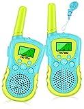 Walkie Talkies für Kinder 8 Kanal Funkgerät mit Hintergrundbeleuchteter LCD-Taschenlampe, 3 Meilen Reichweite für Abenteuer im Freien und Camping Für Junge Mädchen Spielzeug, 2 Paket (Hellblau)