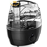 Homasy Cool Mist Humidifiers, 28dB Whisper-Quiet Humidifiers for Bedroom, Easy to Clean & Control Air Humidifier, Auto Shut-Off, 24H Work Time, Earth Black