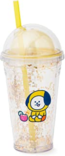 BT21 Official Merchandise by Line Friends - CHIMMY Character Bon Voyage Glitter Tumbler BPA Free 16-Ounce with Lid