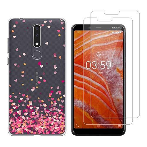 Reshias Custodia Nokia 2 2018 Cover Silicone Trasparente Gel TPU (L'Amore) Morbido Antiurto Protettiva Shell Cover per Nokia 2.1 / Nokia 2 2018 con (2 Pack) Vetro temperato