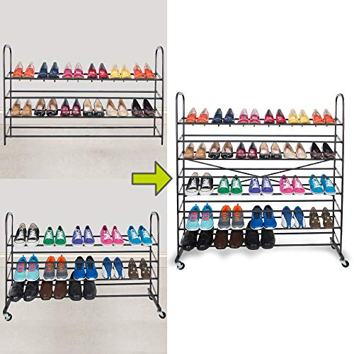 Smart Design 8-Tier Steel Metal Shoe Rack Tower w/ Rolling...