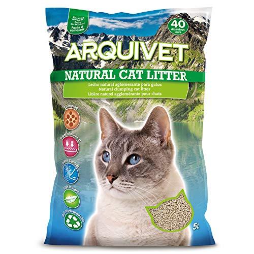 Arquivet Natural Cat Litter - Lecho Natural para Gatos - Lecho higiénico para Gatos - Lecho Biodegradable, ecológico, Vegetal - hasta 40 días - Lecho Natural aglomerante para felinos - 5L